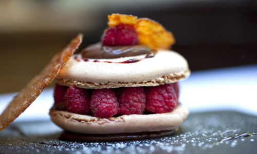 A delicious looking raspberry macaron