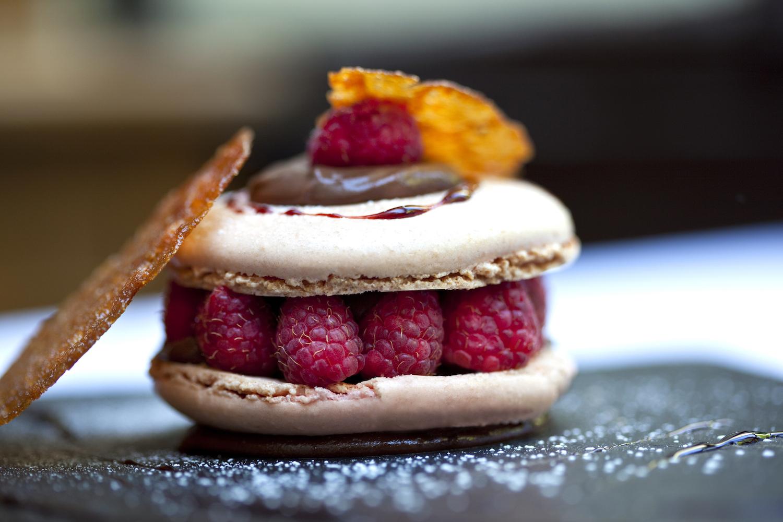 A delicious looking raspberry macaron