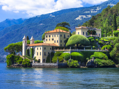 View of a typical houses on the Great Lakes in Italy