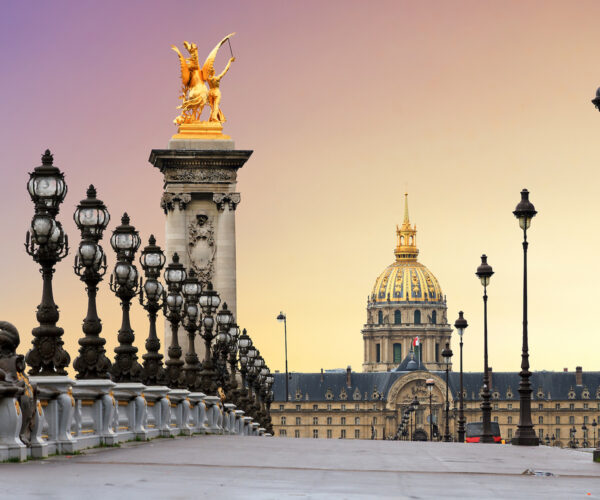 View of the Pont Alexandre III and the Invalides in Paris