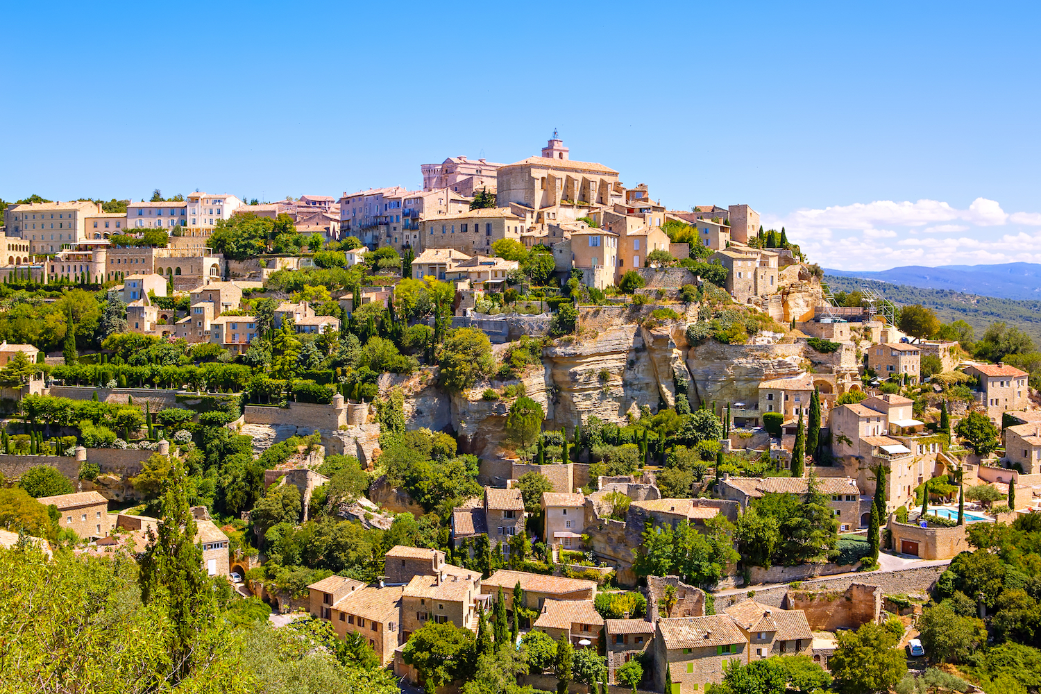 The village of Gordes perched on a hill top in Provence