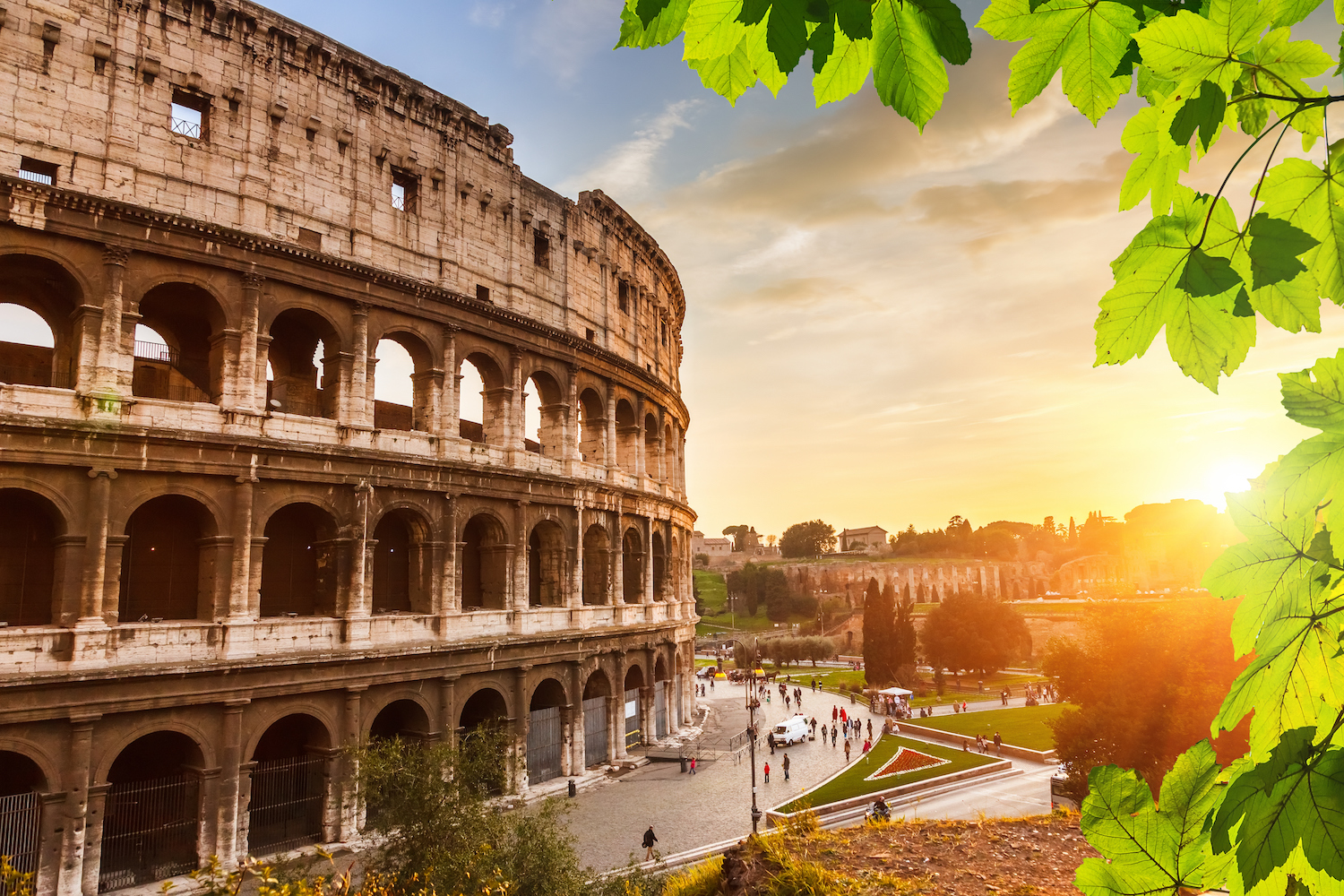 the Colosseum in Rome with beautiful lighting
