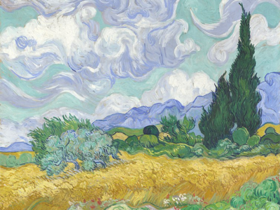 A Van Gogh painted in the south of France - Wheat field with cypresses