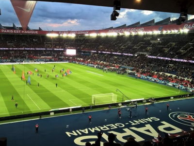Paris St Germain football team playing at the Parc des Princes in Paris