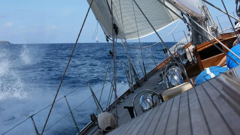 Sailing on board a beautiful wooden boat