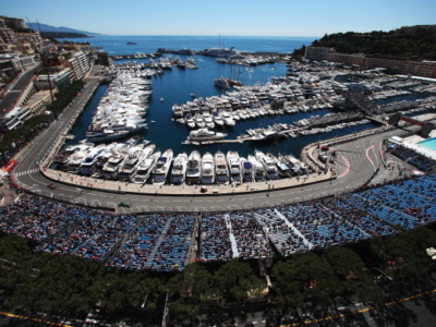 Formula 1 Grand Prix of Monaco with view of the circuit in front of the port