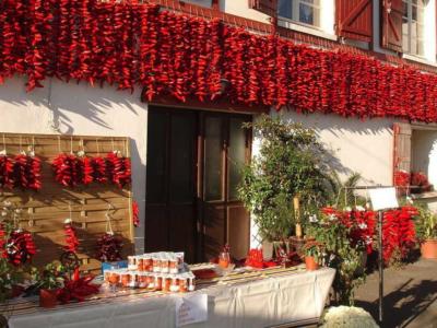 Espelette peppers drying in the world famous village of Espelette