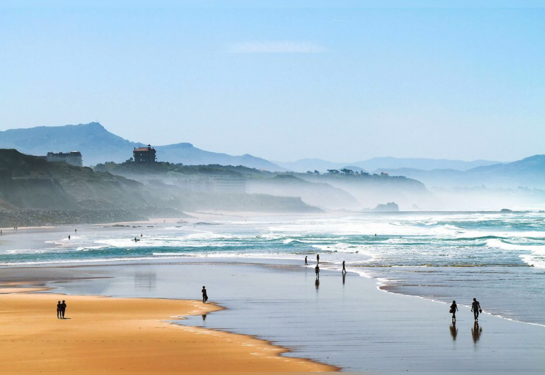 beach and mountains in the Basque Country
