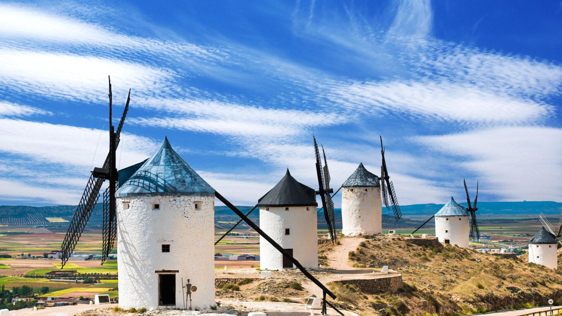 White wind mills in Spain