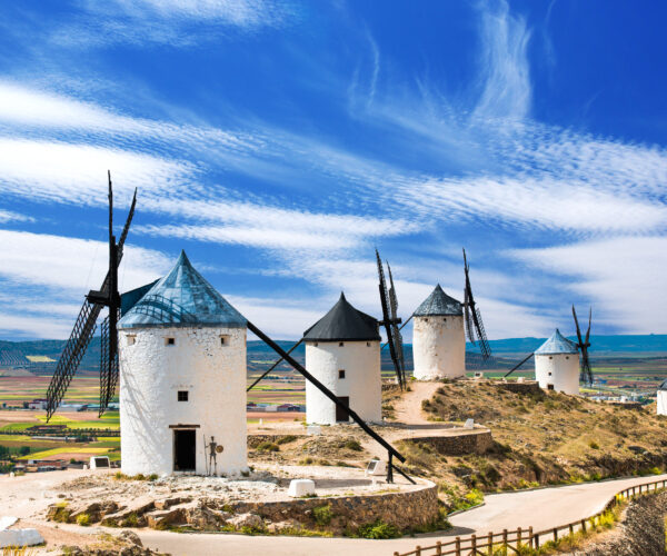 White wind mills in Spain
