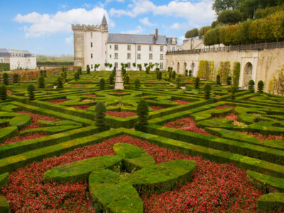 The chateau of Villandry and its beautiful garden in the Loire Valley