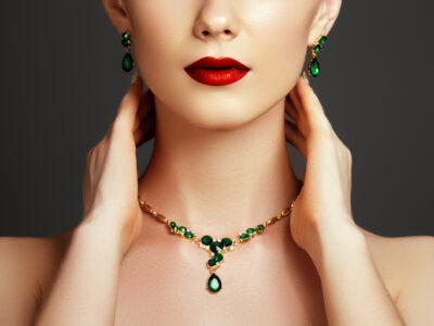 Jewelry presented around a lady's neck and ears