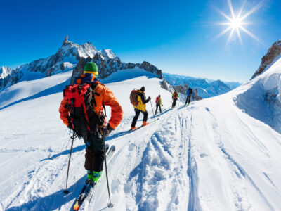 skiing in French Alps with breathtaking panoramic views from mountain tops