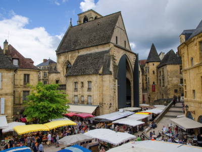The famous Sarlat market in Dordogne