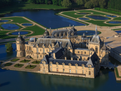View from above of the Chateau de Chantilly