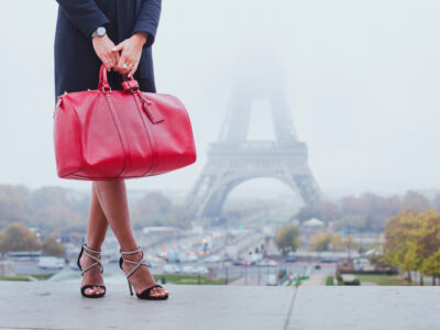 A lady dressed in style standing in front of Eiffel Tower