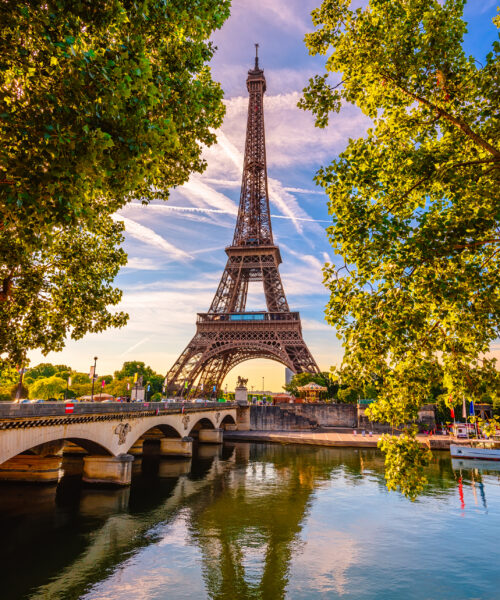 View of the Eiffel Tower with the Seine river in front