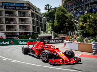 Formula One Ferrari racing in Monaco Grand Prix