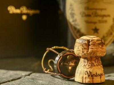 Dom Perignon cork and bottle of champaign