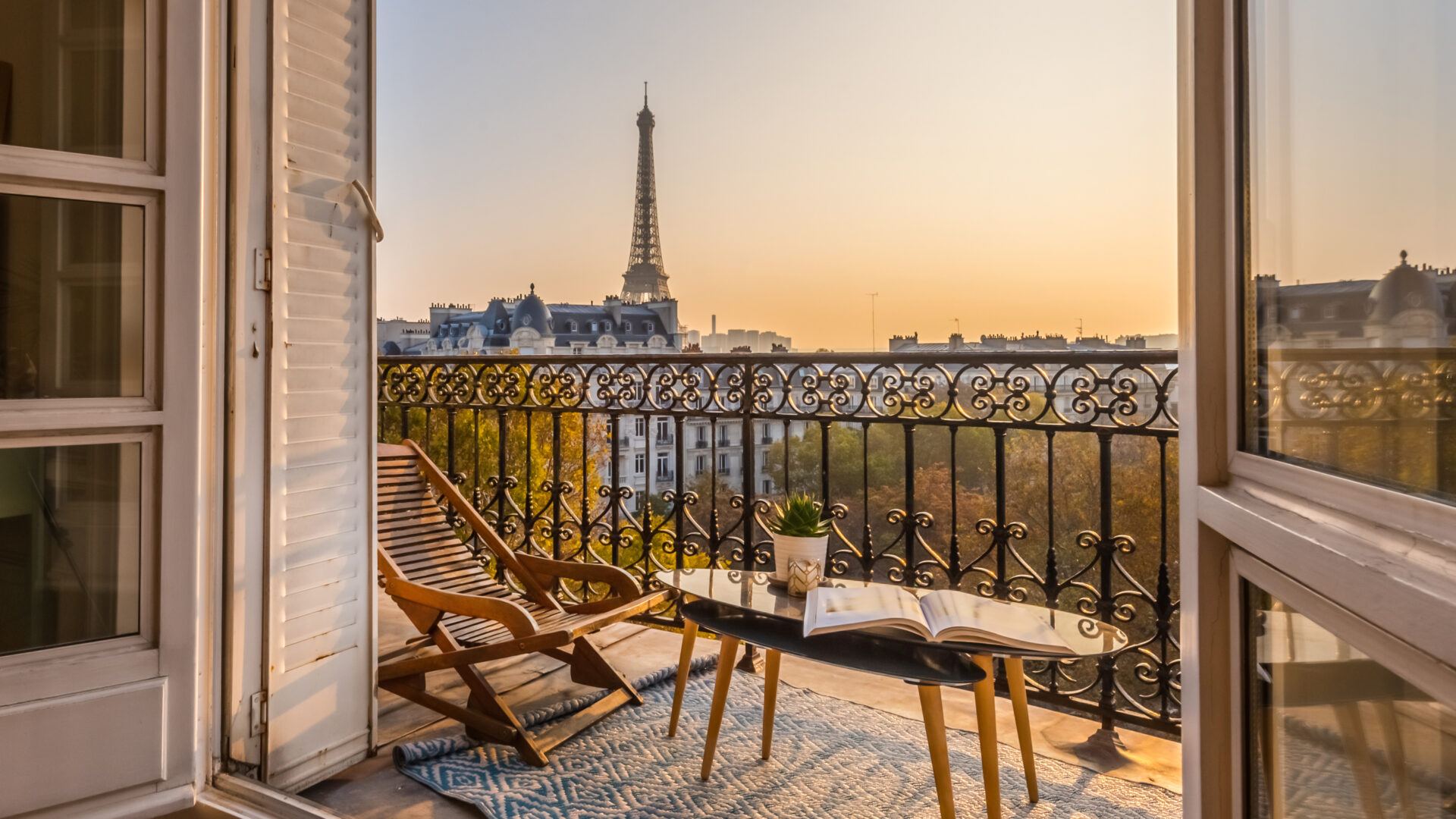 View of the Eiffel Tower from our balcony in Paris