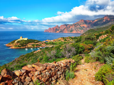 The Scandola natural reserve along the Corsica coast with breathtaking views