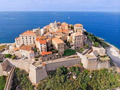 The town of Calvi overlooking the sea in Corsica