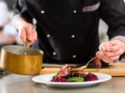 Chef preparing a dish