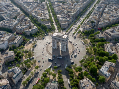 the place de l'étoile in Paris with the Arc de Triomphe