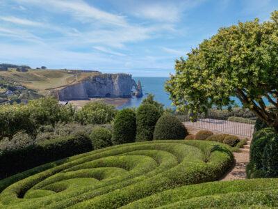 A garden overlooking Etretat in Normandy