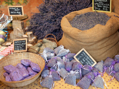 selling lavender in a market