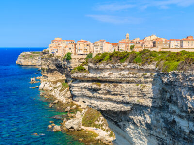 The town of Bonifacio overlooking the sea in Corsica